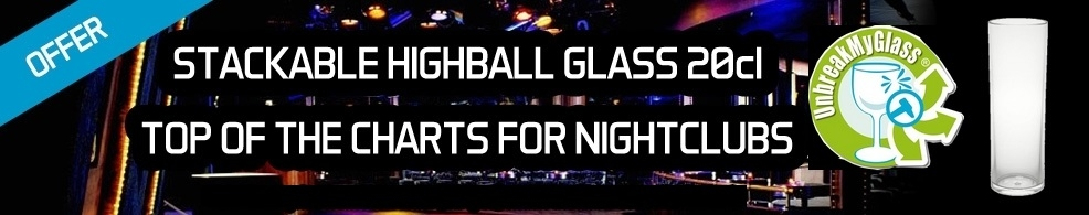 Stackable highball glass 20cl top of the charts for nightclubs